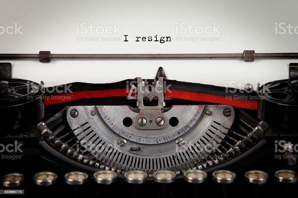 I resign typewriter text stock photo