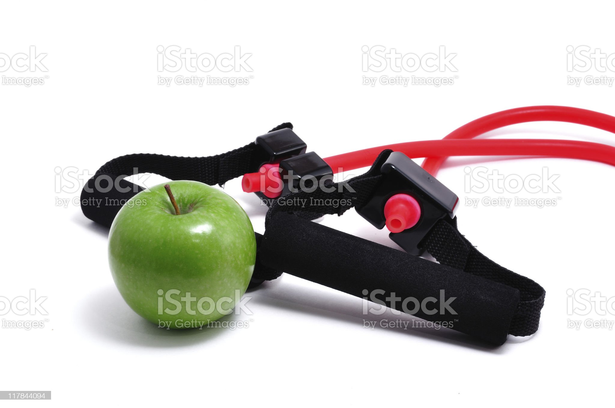 Resistance Band and Green Apple royalty-free stock photo