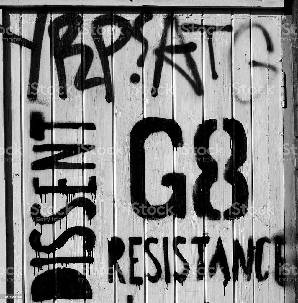 resistance graffiti stock photo