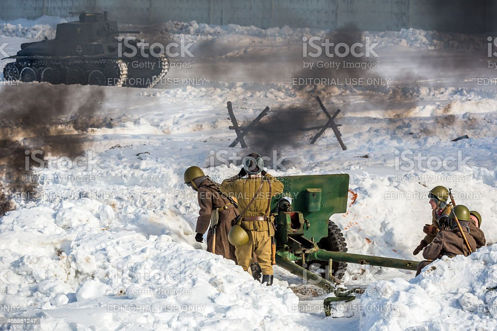 Resistance to enemy. Battle reconstruction royalty-free stock photo
