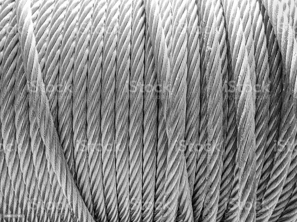 resistant steel cable rolled up stock photo