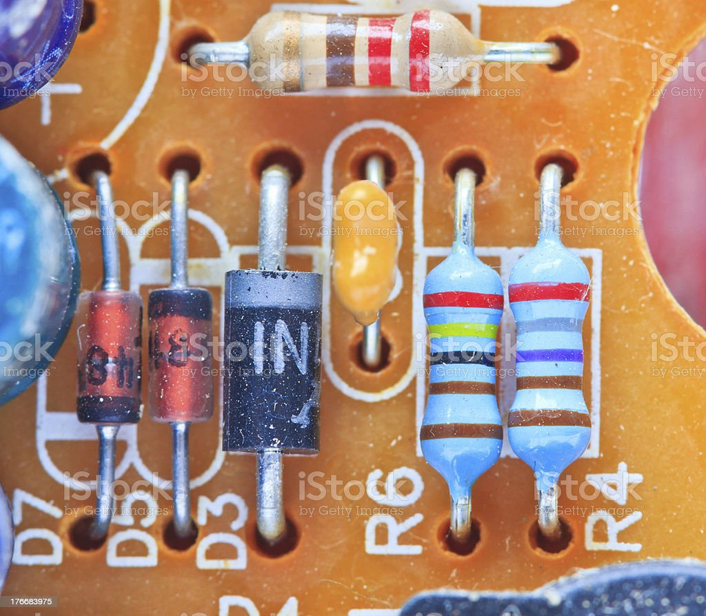 Resistor electronic components mounted on a motherboard royalty-free stock photo