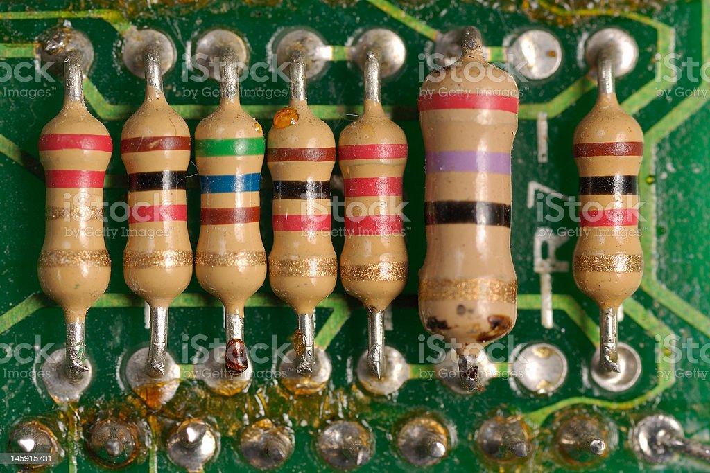 Resistors on Circuit Board stock photo