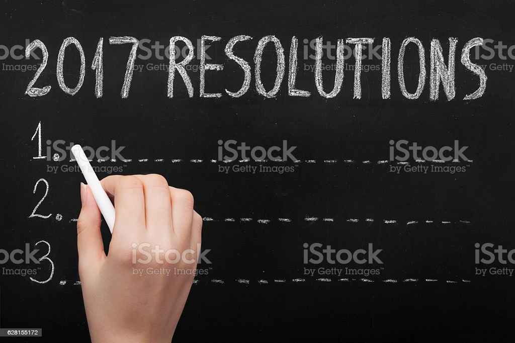 Resolutions Drawing 2017 on Blackboard stock photo