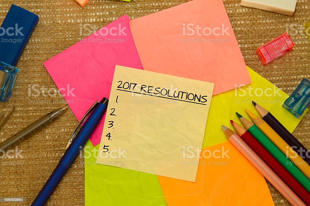 Resolutions for 2017 on sticky notes stock photo