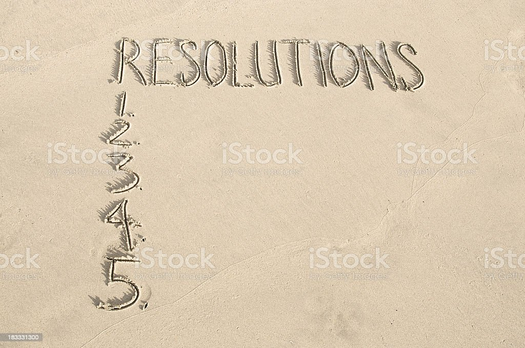 Resolutions Message in Sand with Numbers royalty-free stock photo