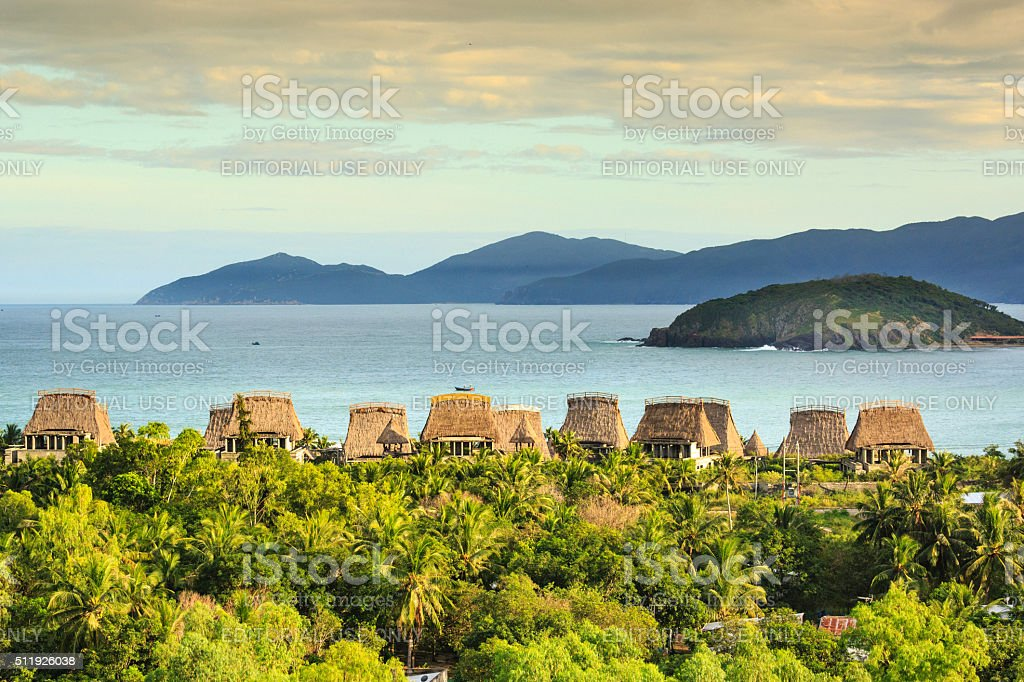 Resort area is built form model minority houses Rong highlands. stock photo