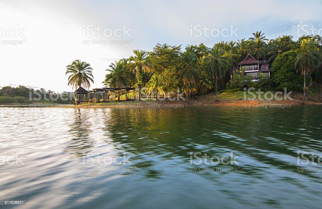 Resort at kenyir lake stock photo