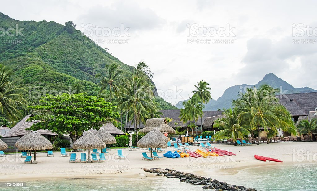 Resort Hilton on Moorea royalty-free stock photo