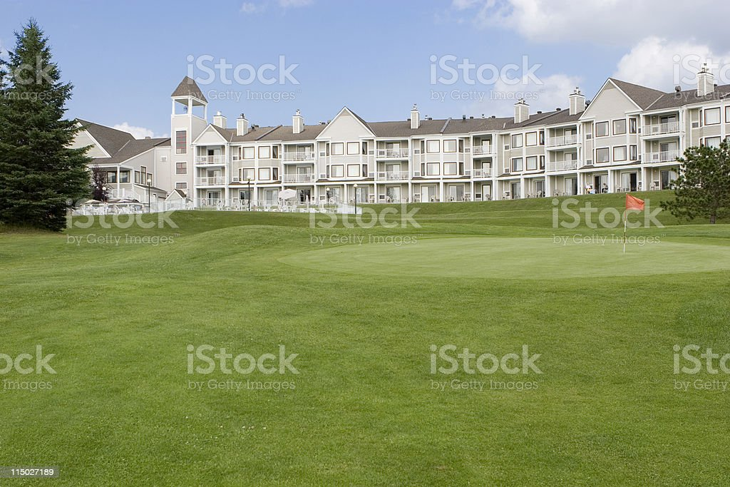 Resort Hotel with Golf Course stock photo