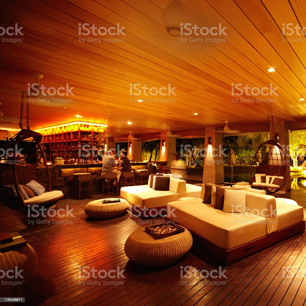 Resort lounge in the Maldives stock photo