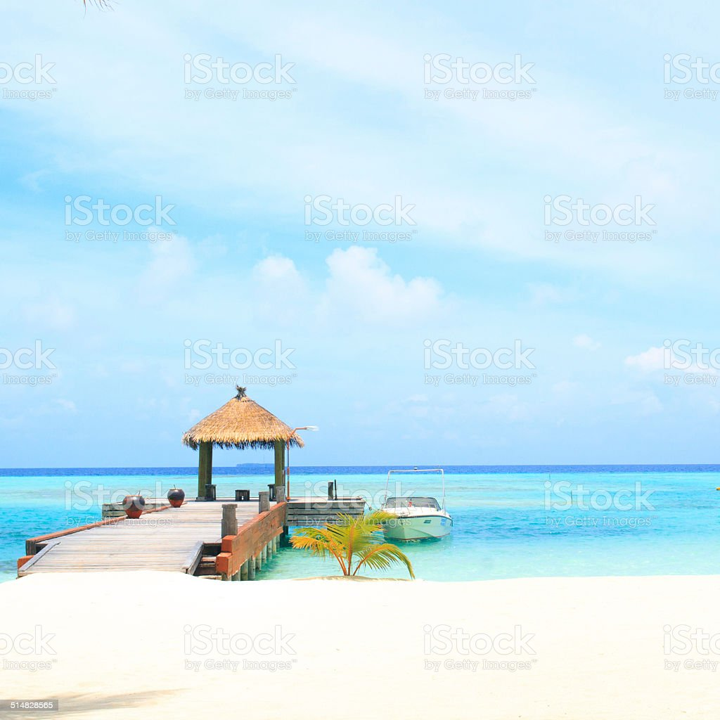 resort maldivian houses stock photo
