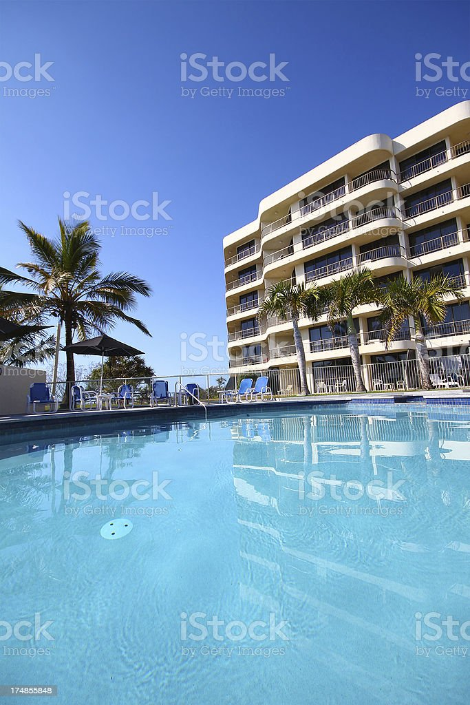 Resort pool and highrise royalty-free stock photo