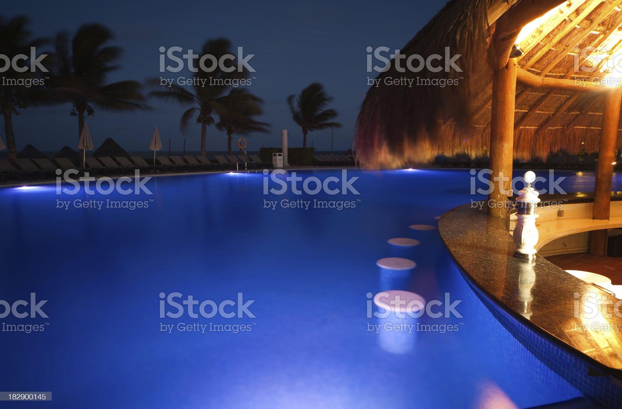 resort pool at night royalty-free stock photo