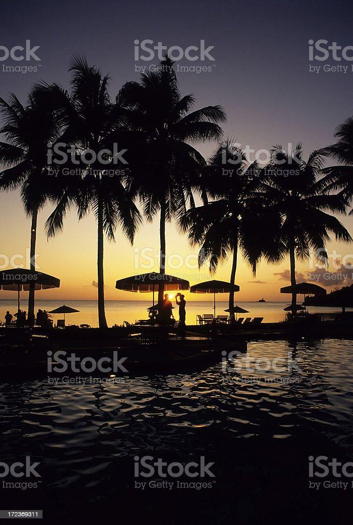 Resort Pool At Sunset royalty-free stock photo