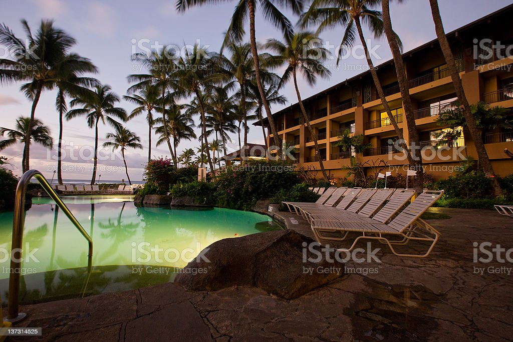 Resort Pool In The Morning royalty-free stock photo