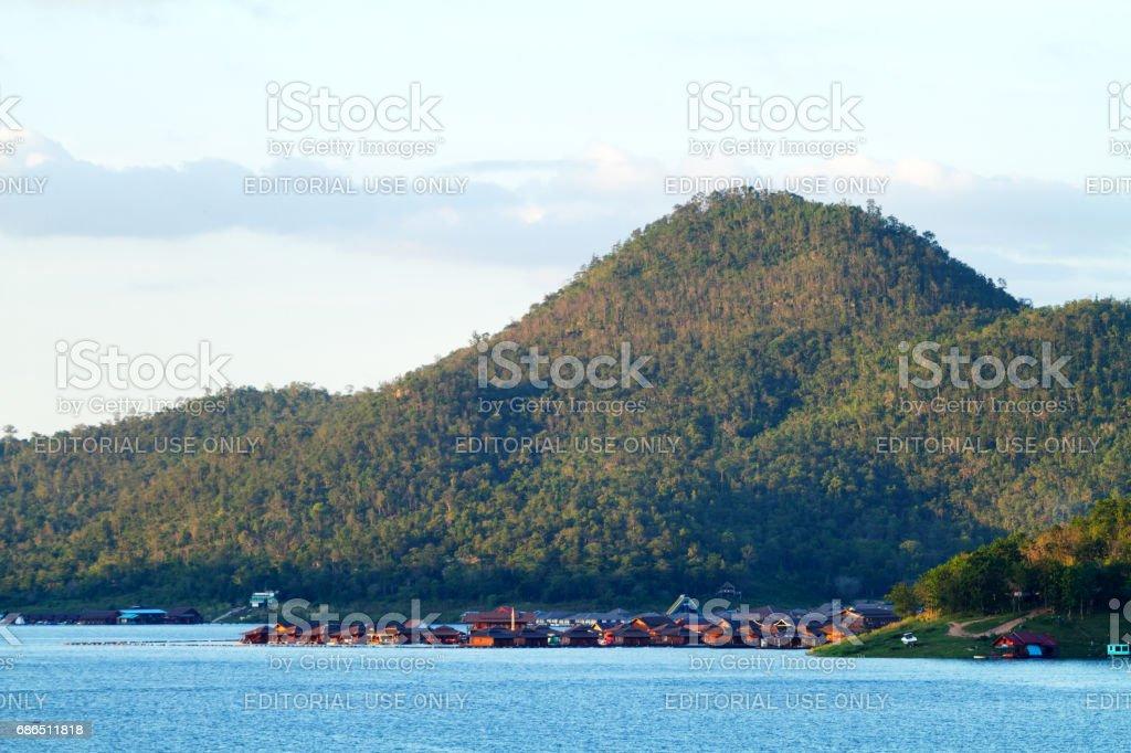 Resort seen from Sinakharin Dam stock photo