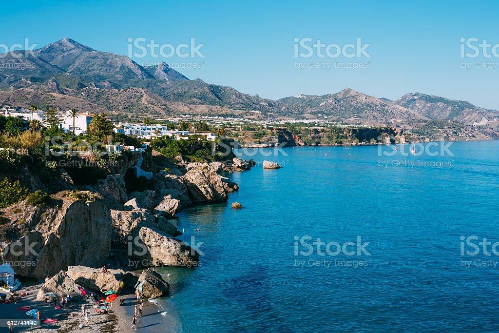 Resort Town Of Nerja  Spain. View From Balcon De Europa. stock photo