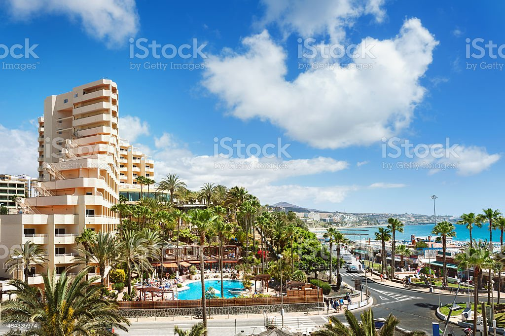 Resort town Playa del Ingles. Maspalomas. Gran Canaria. stock photo