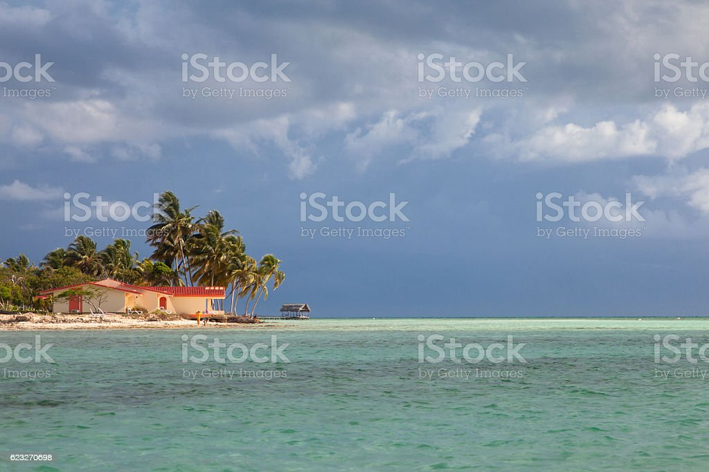 Resort waterfront beach landscape view, Cuba vacation stock photo