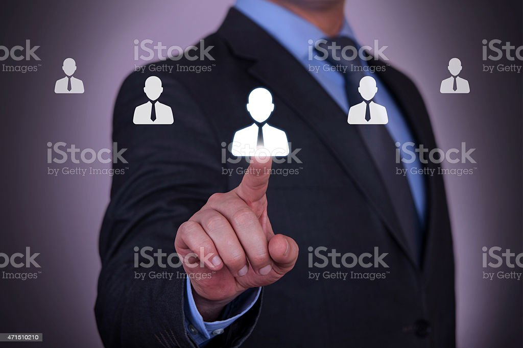 Resource Businessman with Finger stock photo