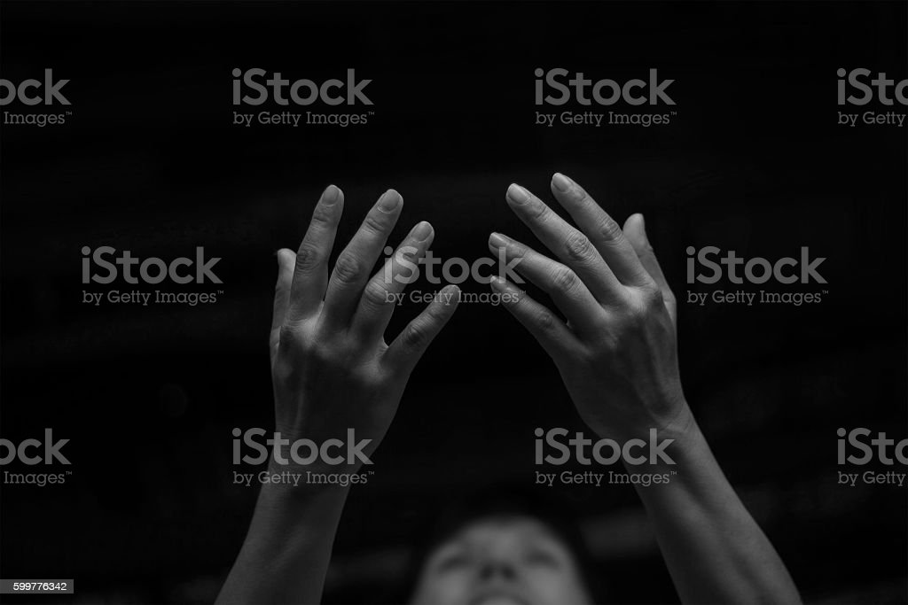 Respect and pray at night background stock photo
