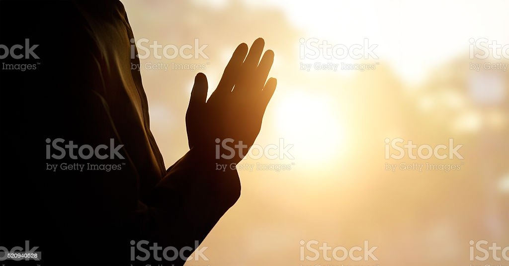 Respect and pray on nature background stock photo