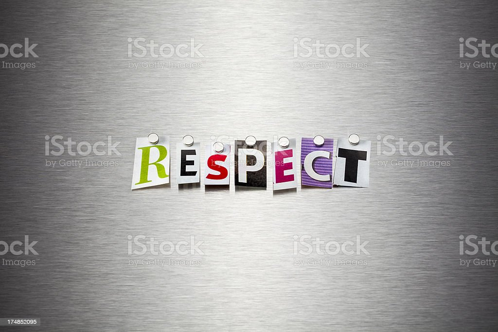 Respect On Brushed Metal royalty-free stock photo