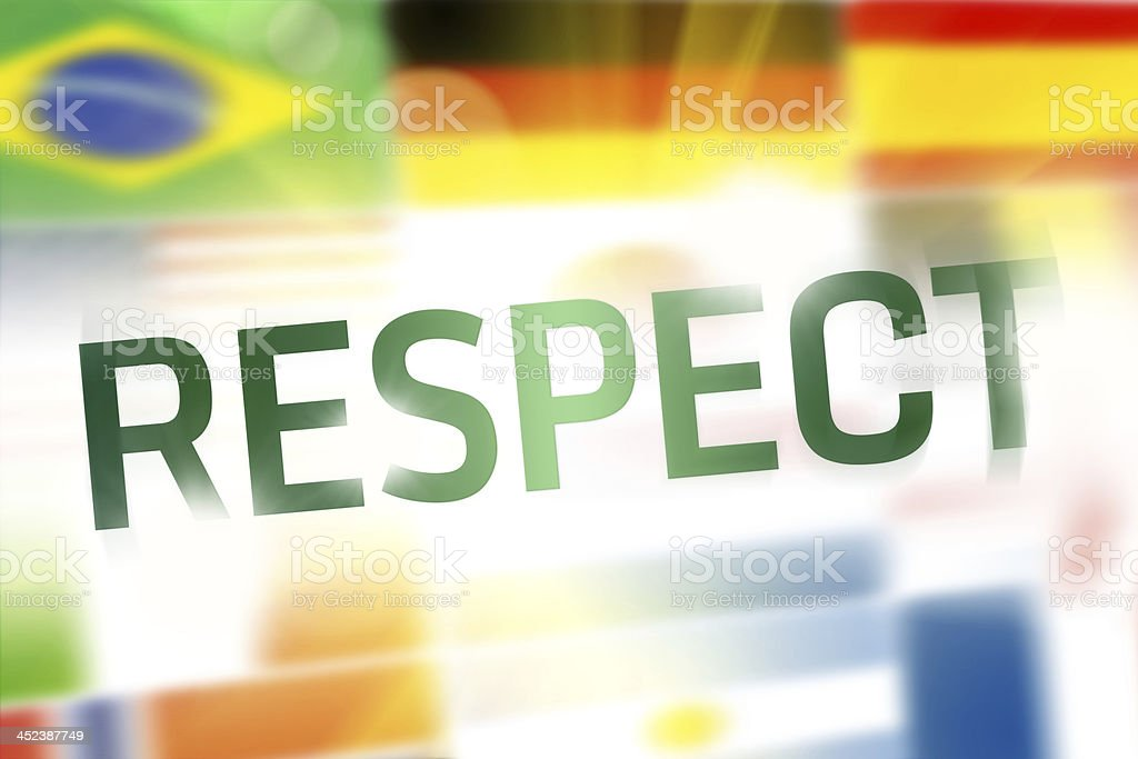Respect written on abstract flags background royalty-free stock photo
