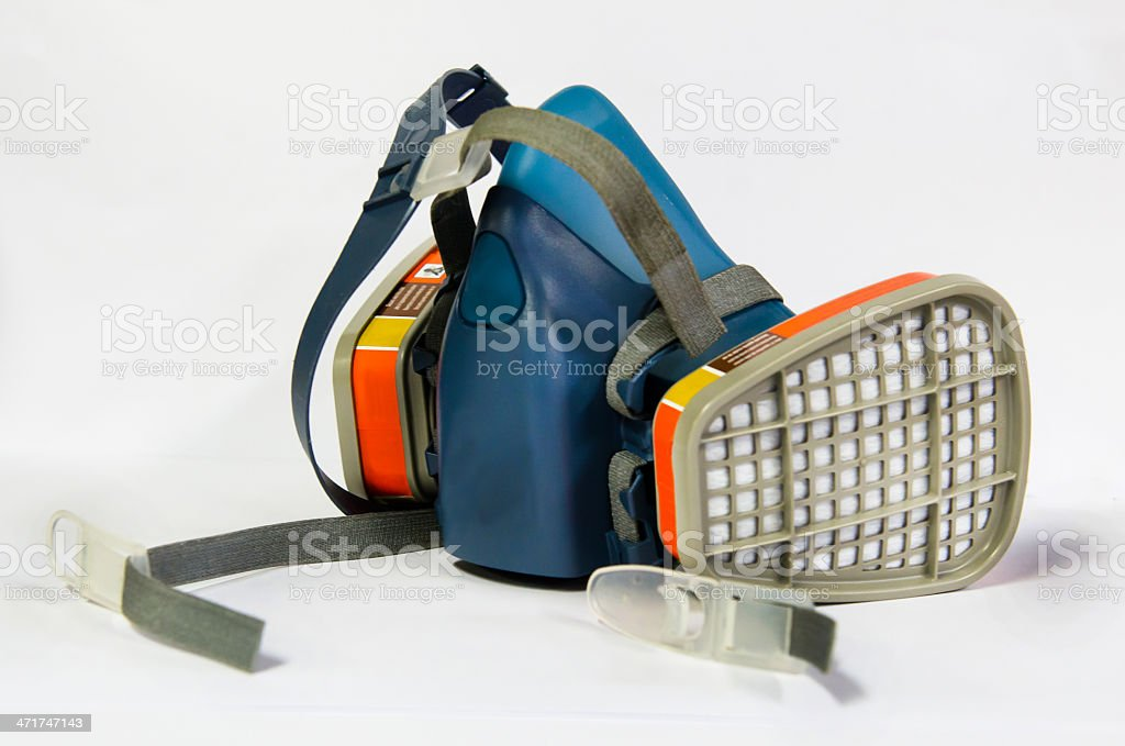 Respirator haft mask for operation job with chemical stock photo