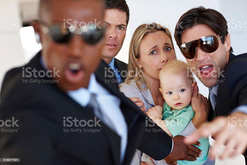 Responding to a threat stock photo