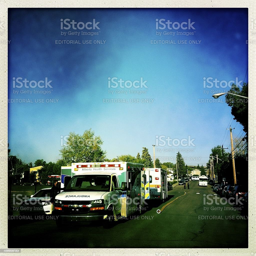 EMS responds to a fire in residential neighbourhood royalty-free stock photo