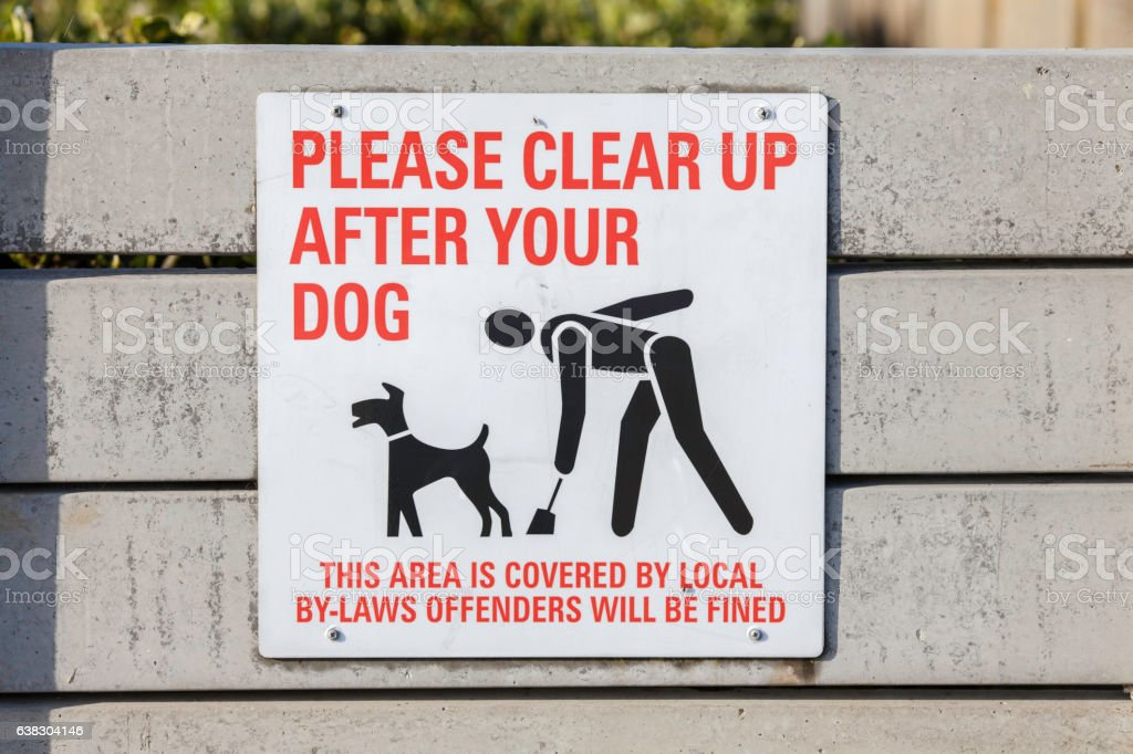 Responsible pet owner - warning sign stock photo