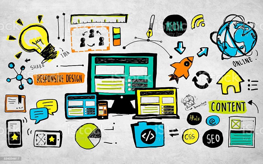 Responsive Design Content Technology Idea Creativity Concept stock photo