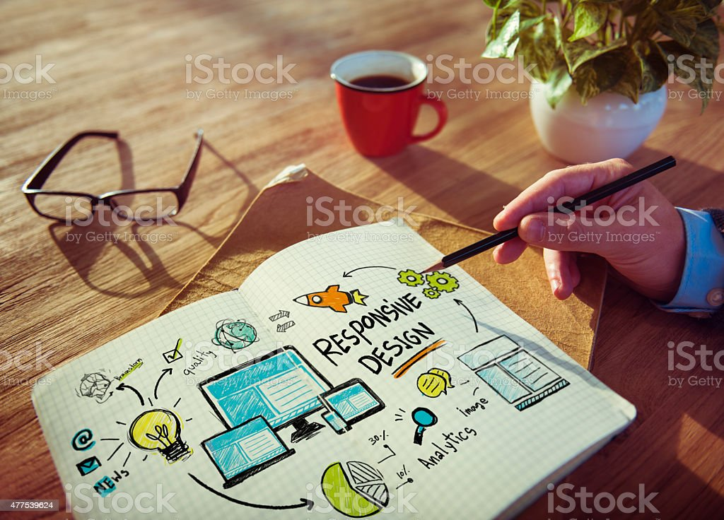 Responsive Design Internet Web Working Brainstorming Learning Co stock photo