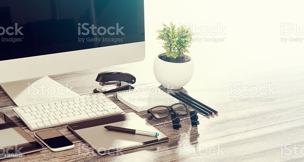 Responsive design mockup. stock photo