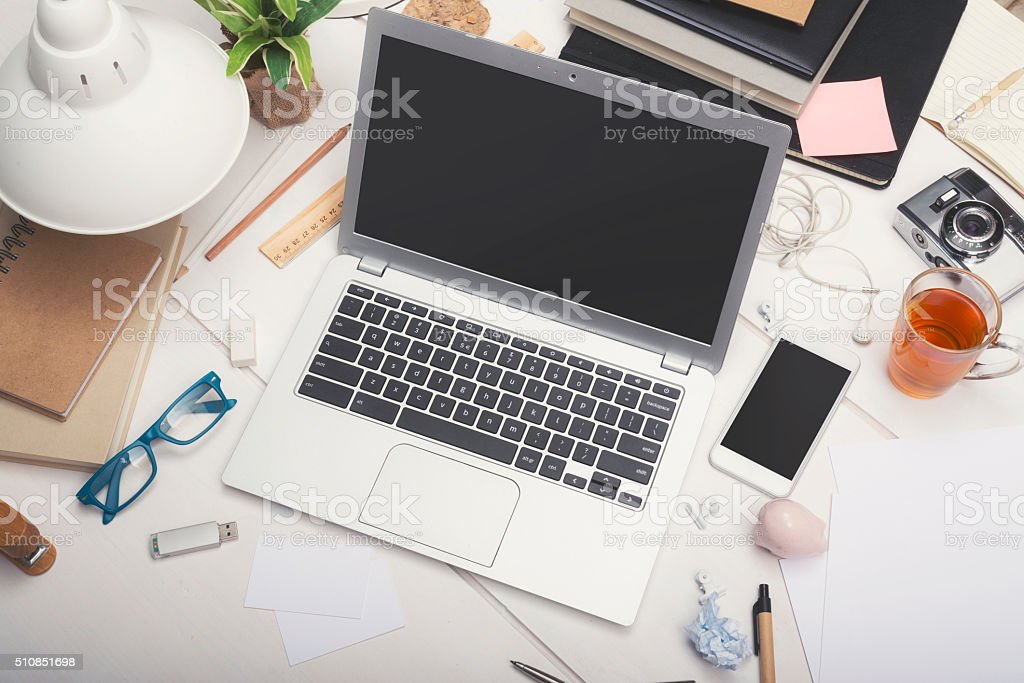 Responsive design office mockup stock photo