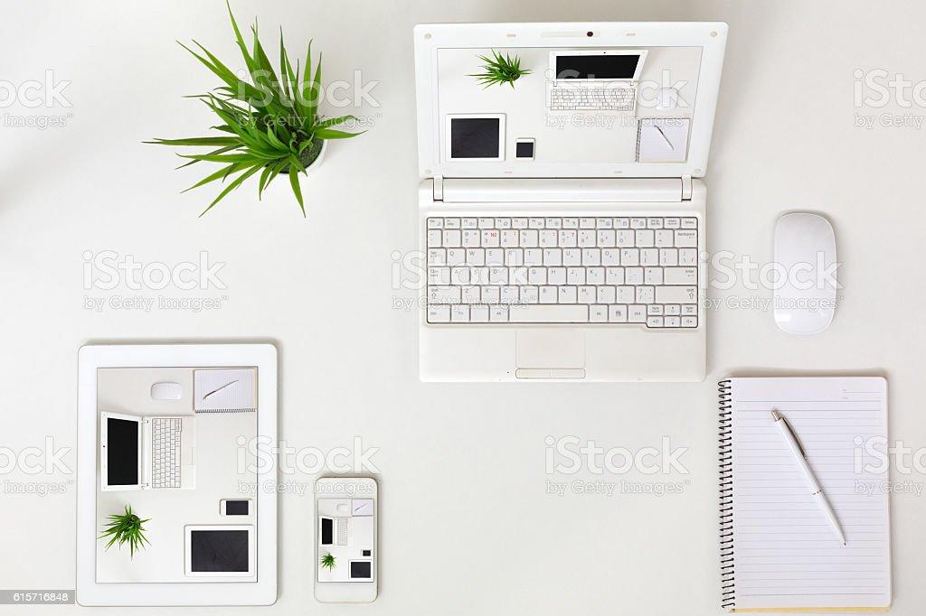 Responsive Design Theme Example Electronic Gadgets on white Background stock photo