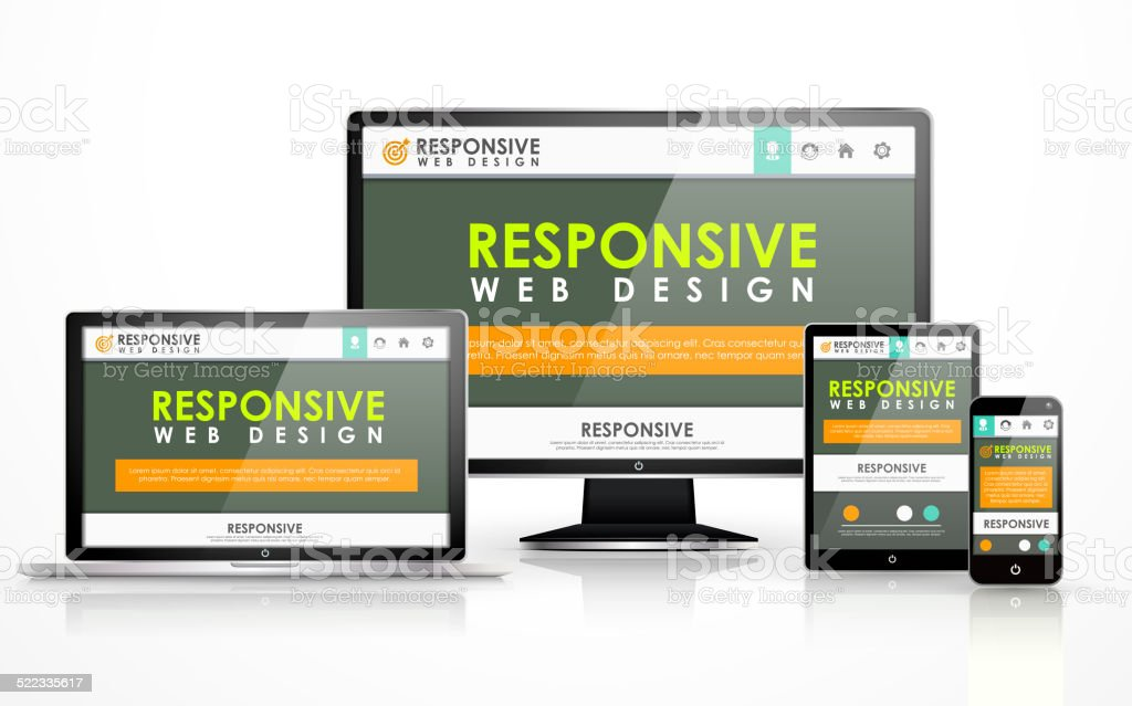responsive web design in different devices stock photo