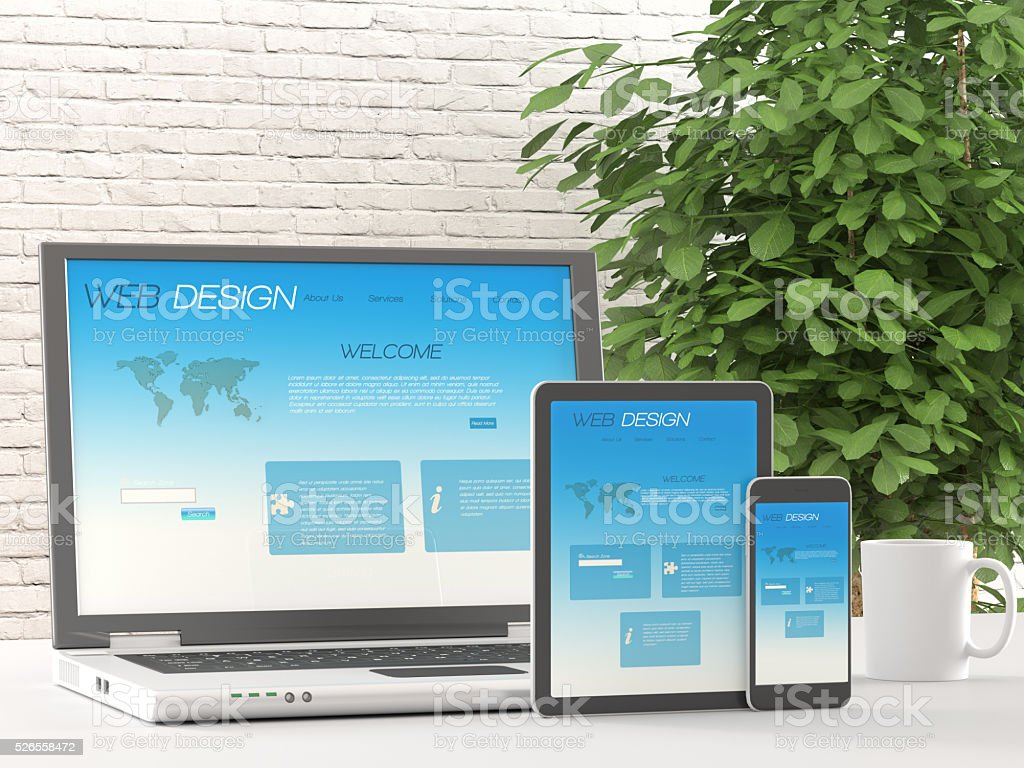 Responsive web design on different devices stock photo