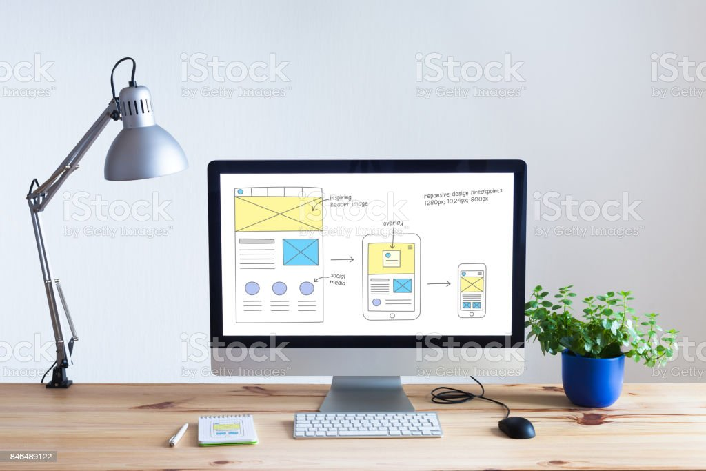 Responsive web design website wireframe sketch layout on computer screen stock photo