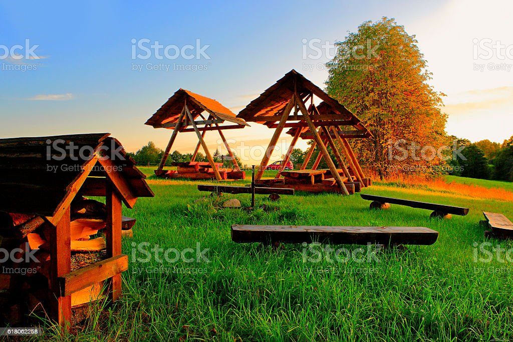 Rest area for hikers. stock photo