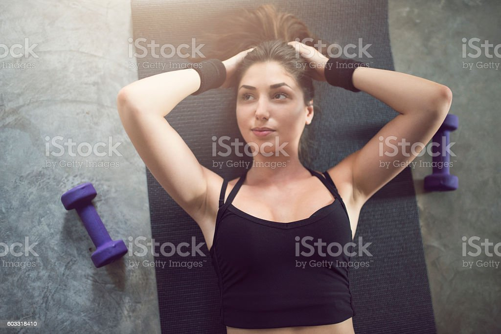Rest between hard exercises stock photo