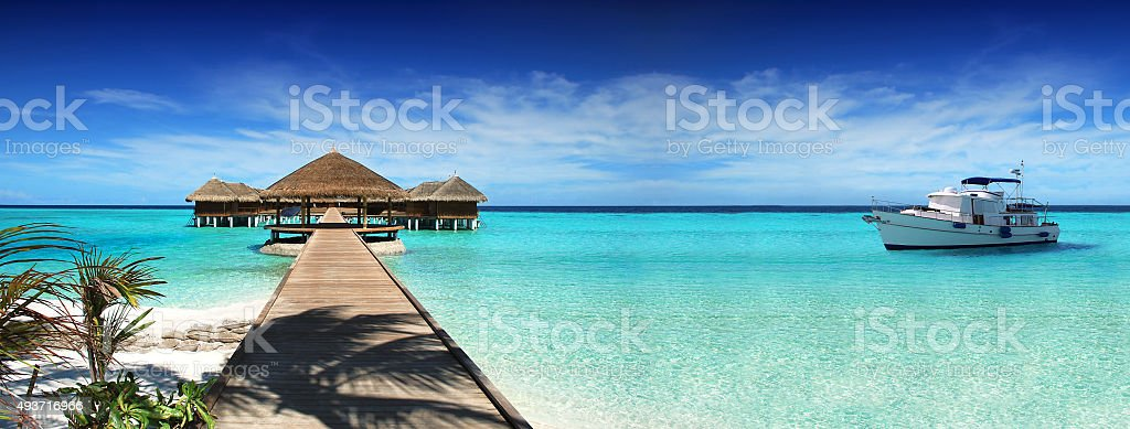 Rest in the Maldives and a yacht cruise on the ocean. stock photo