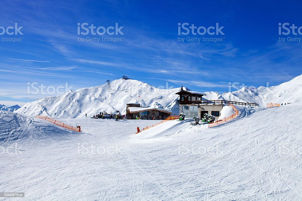 Rest station on the mountain stock photo