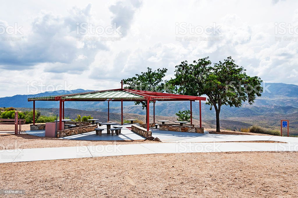 Rest Stop in Arizona with a view of Black Canyon stock photo