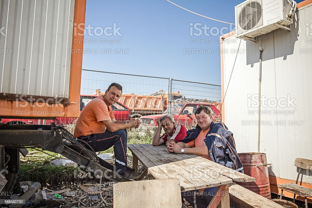 Rest time at construction site stock photo