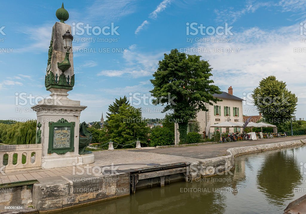 Restaurant and Canal Loire stock photo