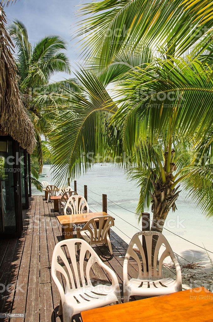 Restaurant and Lagoon Moorea royalty-free stock photo