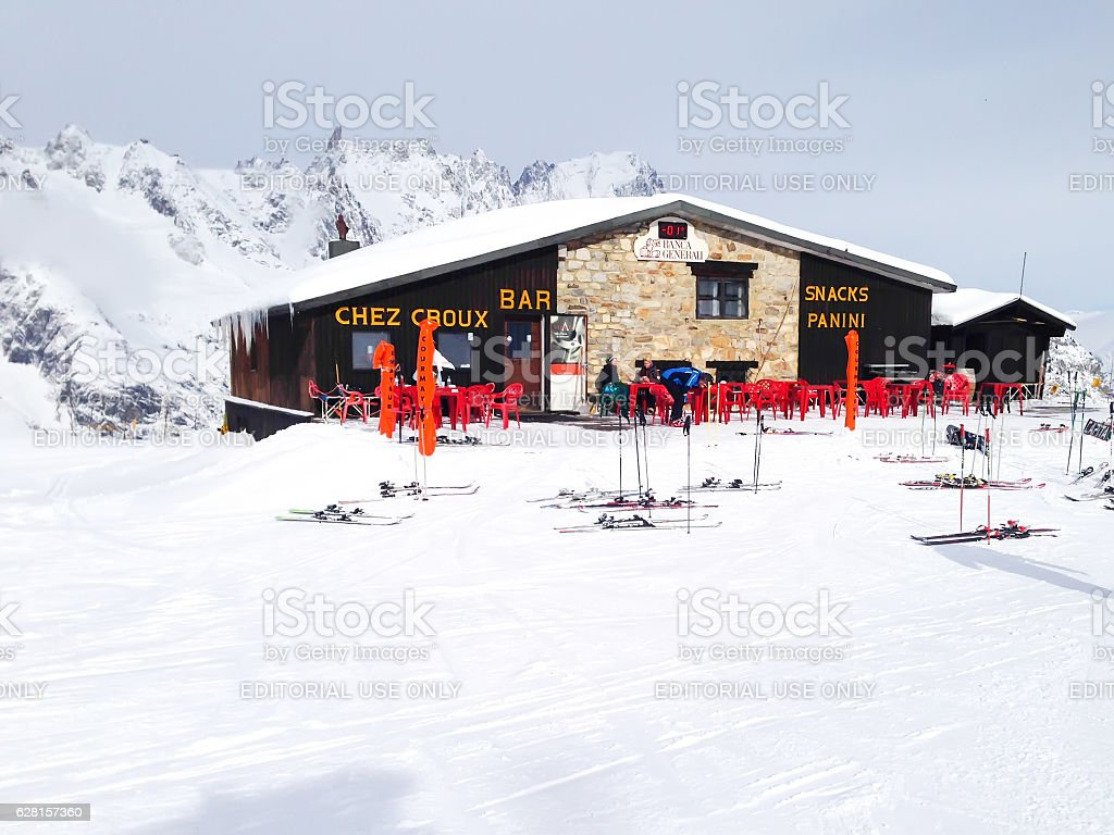 Restaurant and skis on slope in Les Houches, Chamonix winter stock photo